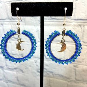 Boho Beaded HANDMADE Moon Hoop Earrings